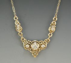 14k Yellow Gold Moissanite Pendant- One of a Kind