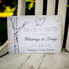 Woodland Wedding Save the Date Card - Vintage, Rustic, wood, trees, wood grain, bark, birch trees, woodland, woods, save the date on Etsy, $75.00