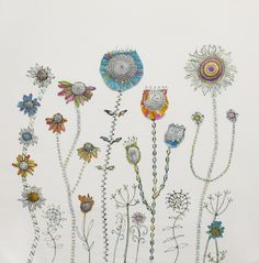 Retro flower landscape by Bev Holmes-Wright @ www.stitchingforthesoul.co.uk
