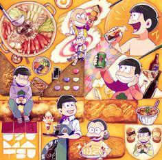 Osomatsu-san The Matsu Food aesthetics Otaku, Ichimatsu, Homestuck, South Park, Anime Comics, Kingdom Hearts, Me Me Me Anime, Naive, Food Art