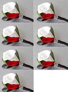 7pc Set Boutonniere: Foam Calla Lily Red Petal Black Stem with Bling Angel Isabella http://www.amazon.com/dp/B00OBRXZNC/ref=cm_sw_r_pi_dp_Ajo3wb1MYVWQ9