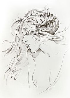 """Kiss of Wind"" pencil drawing"
