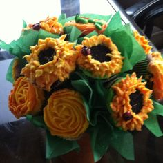 Sunflower cupcake arrangement