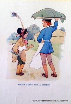 1910s SIMPLE SIMON Nursery Rhyme Print by Margaret TARRANT