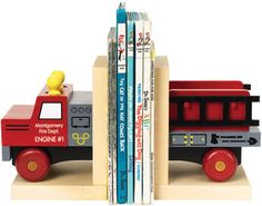Dress-up any nursery bookshelf with a set of firetruck themed block bookends. Features: - The base is crafted from locally sourced, sustainably harvested maple - Non-skid bottoms - Non-toxic clear fin