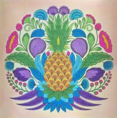 Pineapple From Millie Marottas Tropical Wonderland Coloured By Laura Johanna BasfordAdult ColoringColoring Books