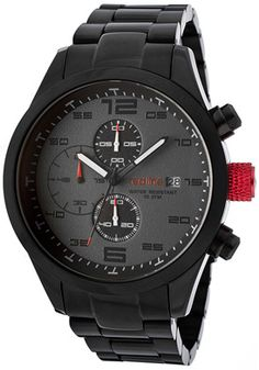 Men's Stealth Chronograph Grey Dial Black IP Stainless Steel