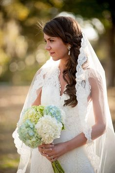 wedding gown lace veil wedding hair