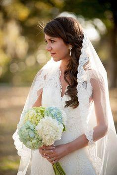 wedding gown lace veil wedding hair