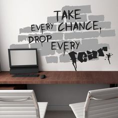This Cool Graffiti Vinyl Wall Sticker Will Bring The Free And Revolutionary Spirit To Your Teenager Room Or Work Area. This Giant The Wall Wall Sticker Features A Brick Wall With A Graffiti Saying: Take Every Chance, Drop Every Fear.$74.99