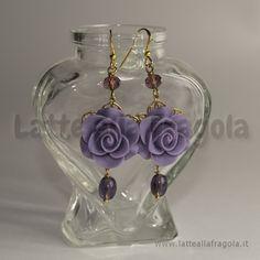 Earrings violet rose