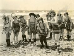 A group of happy gals from the 1920s at the beach