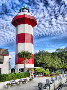 Looking at the fantastic view of Hilton Head Island's famous lighthouse, standing proud in the heart of our festive Harbor Town. Find out more about the Town of Hilton Head here: https://www.facebook.com/HHICelebration