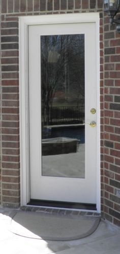 Rt 8 full lite prehung steel door with blinds between the for Exterior back doors with glass