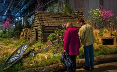 """The 2016 Philadelphia Flower Show show centers around the theme """"Explore America,"""" celebrating 100 years of the National Park Service. Of the more than three dozen 2016 competition displays, we especially loved seeing Pennsylvania national park sites rendered in flowers. (Photo by M. Fischetti for Visit Philadelphia)"""