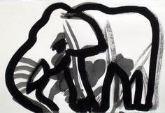 Elefant, tusch, 35x50cm