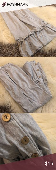 0771228c7 Ruffle bell bottom pants with buttons Girls pants in gray with ruffle  bottoms and buttons Honeydew USA Bottoms Casual