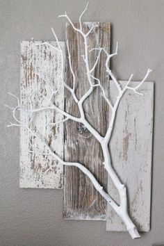 Three Piece Weathered Barn Wood with White Coral Branch Wall Hanging - Deko - . - Three Piece Weathered Barn Wood with White Coral Branch Wall Hanging – Deko – … - Home Crafts, Diy Home Decor, Diy And Crafts, Diy Decoration, Decor Ideas, Diy Ideas, Decorating Ideas, Decorations, Diy Wood Projects