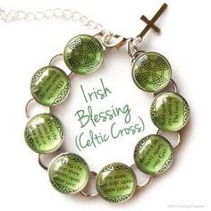 Irish Blessing Charm Bracelet with Celtic Cross or by ScriptCharms, $22.00