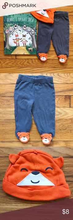 🦊 Fantastic Fox Footed 2pc Set Two piece fox set from Carter's. (Although, they look more like bears to me maybe?)  • Charcoal grey lounge pants with fox face covered footies. • Selling with coordinating fox face beanie. • Gently used condition. • Bundle 3 or more items and receive 20% off! Carter's Matching Sets