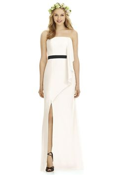 a6c6dc4f313 Social Bridesmaids Fall 2016 dress style Full length strapless nu-georgette  dress w  asymmetrical cascade detail and matching or contrasting inset  waistband ...