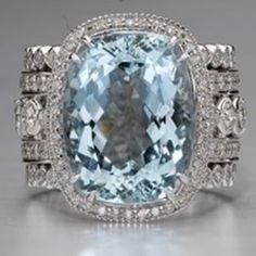 Christopher Designs Aquamarine and Diamond ring