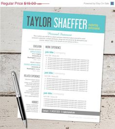 sale instant download resume design template microsoft word editable teal yellow