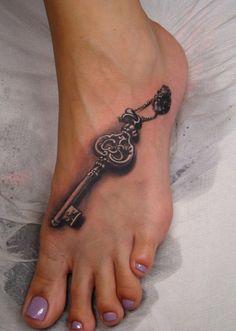 key tattoo on foot - 50 Awesome Foot Tattoo Designs Tattoos Skull, Body Art Tattoos, Small Tattoos, Bird Tattoos, Tattoos Of Keys, Foot Tatoos, Heart Tattoos, Anchor Tattoos, Feather Tattoos
