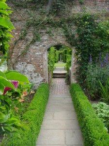 Boxwood lined walk, Sissinghurst Castle gardens, Kent