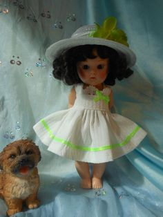 Seersucker,Spring dress  with hat,  fits Ginny, Muffie, all 7 to 8 in. dolls.