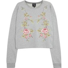 MCQ Alexander McQueen Embroidered Jersey Sweatshirt (780 BRL) ❤ liked on Polyvore featuring tops, hoodies, sweatshirts, sweaters, jumpers, shirts, grey and other, jersey shirt, grey sweatshirt and gray crop top