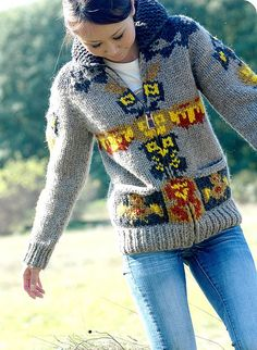 i have wanted one of these for over 5 years. Cowichan Sweater, Men Sweater, Knitting Designs, Knitting Projects, Knit Basket, Cozy Sweaters, Knitting Patterns, Knit Crochet, What To Wear