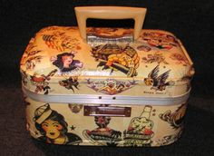 Sailor Jerry tattoo themed upcycled vintage train case makeup bag suitcase travel by Rhonda Gelstein of Funky Stuff Gifts   SOLD  www.facebook.com/funkystuffgifts