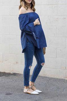 off shoulder denim on denim pregnancy outfit