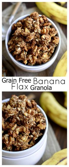 Crunchy grain free banana granola made from banana chips, sunflower seeds and coconut.