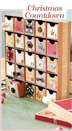 Holiday Papercrafting from Leisure Arts is filled with imaginative Christmas gifts and home décor to craft using scraps of colorful paper. A nostalgic vintage look is easy with a joyful blend of old and new supplies. Projects include Framed Pen and Ink Sa Homemade Advent Calendars, Diy Advent Calendar, Paper Crafts Origami, Cardboard Crafts, Handmade Christmas Decorations, Holiday Crafts, Homemade Christmas Gifts, Christmas Crafts, Advent Calenders