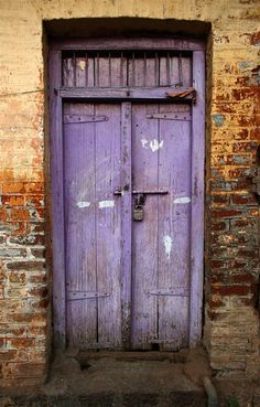 Purple Door, India, Abigail Marie, old wooden door, weathered, cracks, details, bricks, aged, beauty, photo ..rh