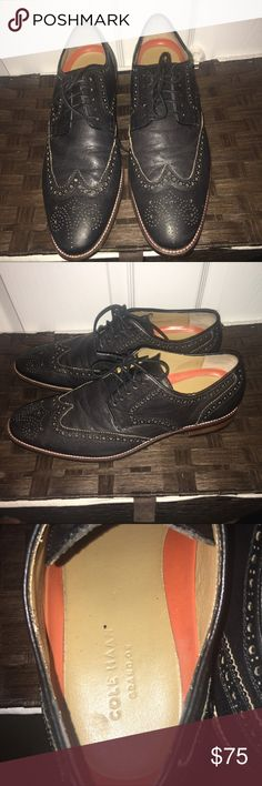 Cole Hann Wing Tips Great show black with stitching, the only reason I'm selling because they are too big I need a size 10 this is a 10.5 Cole Haan Shoes Oxfords & Derbys