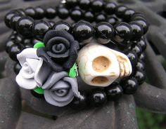 Day of the Dead bracelet wrap around memory wire by shabbyskull I love these