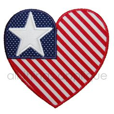 Patriotic Heart - Machine Embroidery Applique Design - INSTANT DOWNLOAD