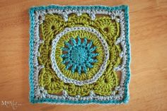"""Beautiful colors and pattern.  From """"Mad Mad me"""" on FB, who says: """"Altered and embellished pattern from """"200 Crochet Blocks"""" by Jan Eaton. Made with Simply Soft yarn and Red Heart Soft, 6x6 inches."""""""