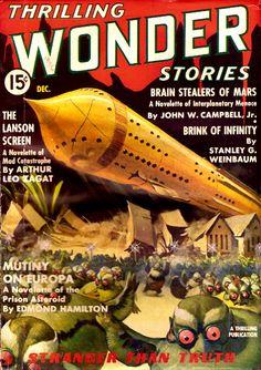 Thrilling Wonder Stories Dec 1936: Brain Stealers of Mars, Cover art by Howard V. Brown