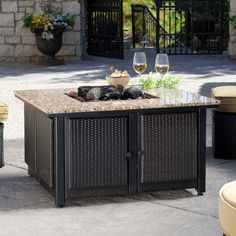 uniflame granite table propane fire pit with free cover