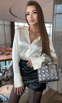 Sexy Blouse, Blouse And Skirt, Blouse Outfit, Black Leather Skirts, Leather Dresses, Satin Skirt, Satin Dresses, Satin Blouses, Hot Outfits