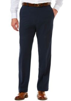Haggar Navy Cool 18 Pro Classic Fit Flat Front Hidden Expandable Waistband Pants