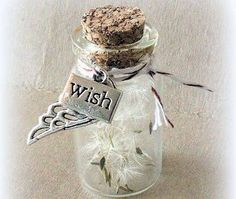 Tiny jars with dandelion fluffs inside! Who doesn't love dandelion fluff? Bottle Jewelry, Bottle Charms, Bottle Necklace, Diy Jewelry, Jewlery, Small Bottles, Bottles And Jars, Glass Jars, Mini Glass Bottles