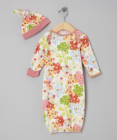 Take a look at this Red Summertime Gown & Single-Knot Beanie - Infant by Everyday Nay on #zulily today!