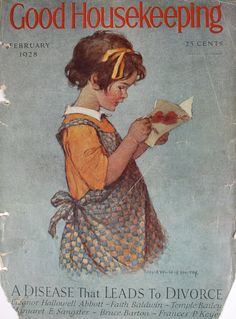 Vintage 1920s Good Housekeeping Magazine Cover- Young Girl Reading Valentine…