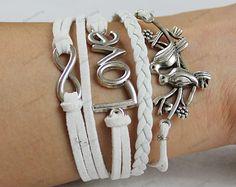 mens bracelets love infinite birds bracelets by lifesunshine, $7.99