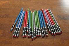 Keeping it Simple: Light Saber Pencils  Could probably use electrical tape and duct tape on already colored pencils to make it even easier!
